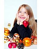 Girl, Anticipation, Christmas tree decorations