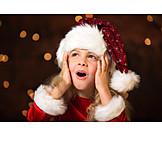 Girl, Surprised, Santa hat, Amazement