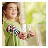 Girl, Ecologically, Energy saving lamp, Saving energy