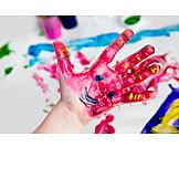 Child's hand, Finger painting