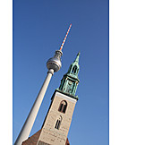 Berlin, Television tower, St mary's church