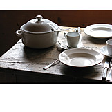 Table, Dishware, Table cover, Place setting, Rustic