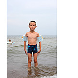 Boy, Water wings, Beach holiday
