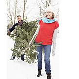 Christmas tree, Couple, Felling