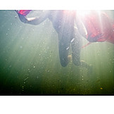 Young woman, Underwater, Swim, Mystical