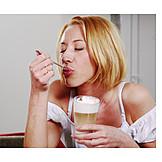 Young Woman, Woman, Indulgence & Consumption, Latte Macchiato