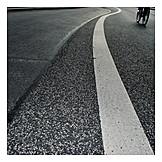 Cyclists, Street, Road marking