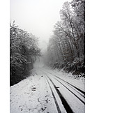 Winter landscape, Fog, Road