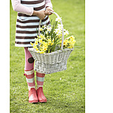 Girl, Spring, Flower basket