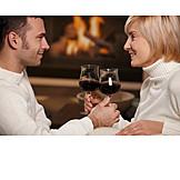 Couple, Romantic, Red wine, Toast