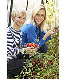 Mother, Gardening, Harvest, Son