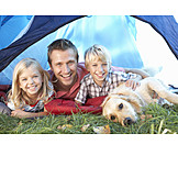 Child, Father, Dog, Camping