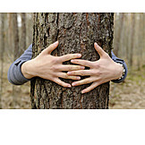 Embracing, Tree trunk, Nature lovers