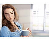Young Woman, Indulgence & Consumption, Coffee Time