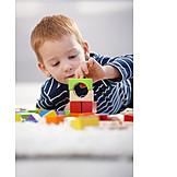 Boy, Playing, Blocks