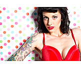 Young woman, Tattoo, Cleavage, Rockabilly