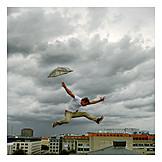 Man, City, Flying, Jump, Freedom