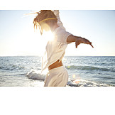 Young woman, Carefree, Arms outstretched, Summer vacation