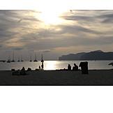 Backlighting, Sunset, Beach