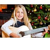 Girl, Christmas, Playing guitar, Christmas song
