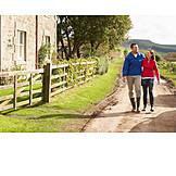 Love couple, Rural scene, Walk