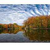 Autumn landscape, Krefeld, City forest lake