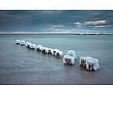 Baltic sea, Frozen, Groyne