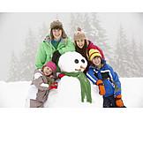 Winter, Snowman, Siblings, Winter Fun