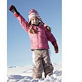 Child, Girl, Winter, Waving