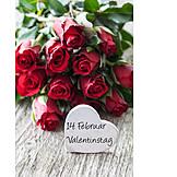 Valentine, Love message, Rose bouquet