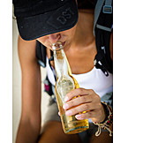 Young Woman, Indulgence & Consumption, Drinking, Beer, Beer Bottle