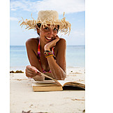 Woman, Beach, Book