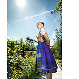Young Woman, Woman, Garden, Dirndl