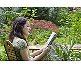 Woman, Garden, Reading