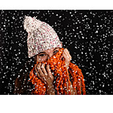 Young Woman, Cap, Winter, Scarf, Snowing