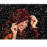 Teenager, Young Woman, Winter, Hood, Snowing