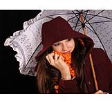 Teenager, Young Woman, Autumn, Umbrella, Umbrella
