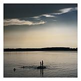 Lake, Silhouette, Bathing