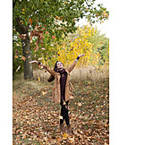 Young Woman, Autumn, Vitality, Walk