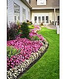 House, Garden, Front Garden, Flower Bed