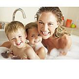 Mother, Bathing, Bathroom, Family lucky