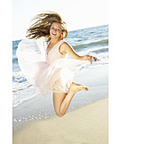 Young woman, Jump, Vacation, Vitality