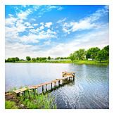 Lake, Pier, Summer