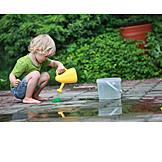 Child, Garden, Watering