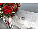 Wedding, Bridal bouquet, Wedding rings