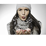 Woman, Winter, Snow, Snowflake