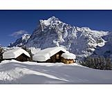 Winter, Bernese oberland, Wetterhorn, Bernese alps