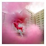 Berlin, Smoke, Protest, Tenement block, Colour cloud, Smoke bomb