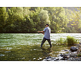 River, Fisherman, Fishing
