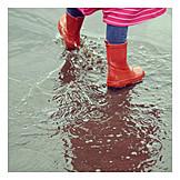 Child, Rain, Puddle, Galoshes